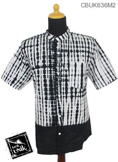 Baju Batik Hitam Putih Baju Batik Kemeja Kerah Koko Motif Jumputan Hitam Putih