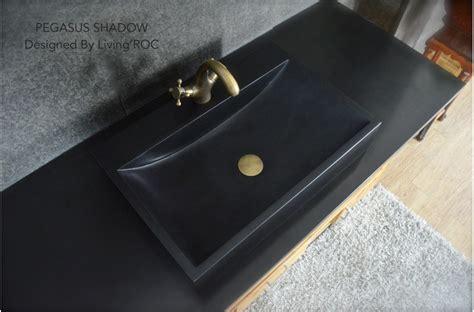 Pegasus Sinks 24 Quot Black Granite Bathroom Sink Faucet Pegasus Shadow