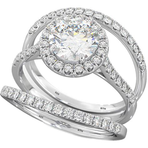 3 pieces cut wedding engagement bridal ring set
