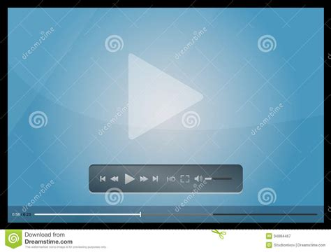 vector blue video player for web vector illustration