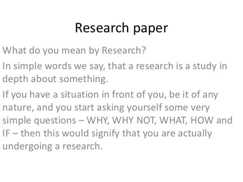 how do you say research paper in research paper