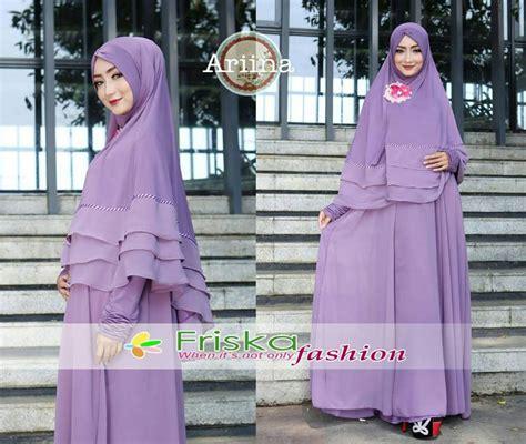 139 Gamis Pesta Muslimah Bordir Ungu Muda ariina ungu muda baju muslim gamis modern