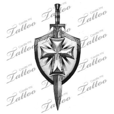 cross shield tattoo grey sword and shield design