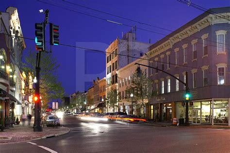 downtown red bank new jersey broad street and front street at dusk ne corner