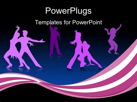 ppt themes dance powerpoint template many happy dancing people with black