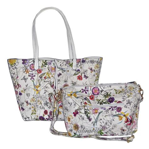 imoshion floral saffiano texture giada  pc reversible    vegan tote bag ebay