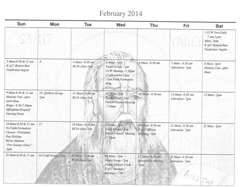 Feb 2014 Calendar Feb 2014 Calendar St Boniface Catholic Church