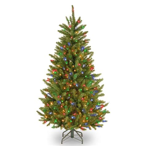4 or 5 ftrustic christmas trees national tree company 4 5 ft fraser slim fir tree with multicolor lights naffslh1 45rlo