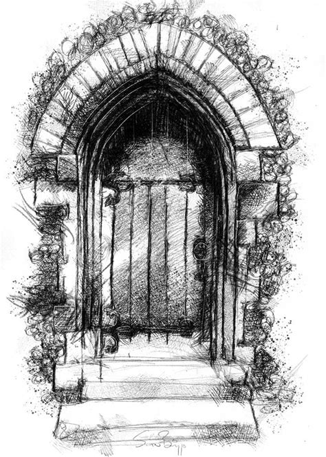 New old door | Dark fantasy art, Drawings, Building drawing