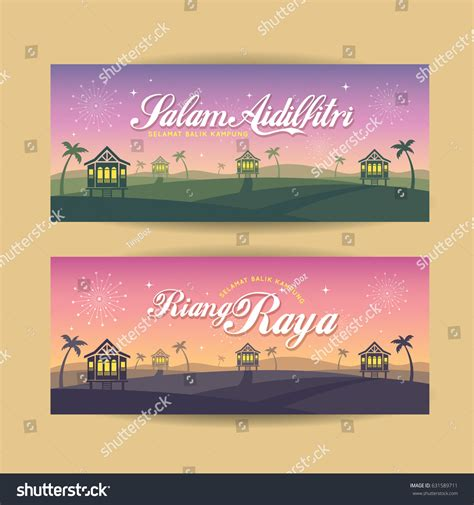 hairstyle banner design set hari raya aidilfitri banner design stock vector
