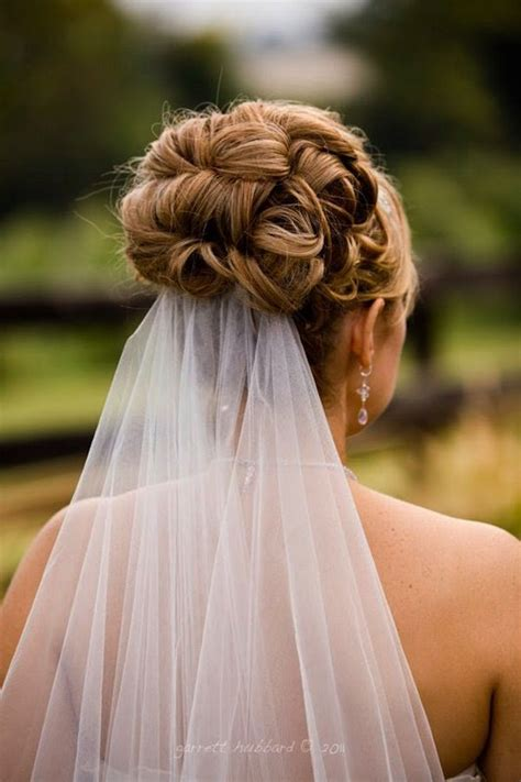 Wedding Hair Updo With Veil by Hair Design High Curled Updo With Veil At Bottom Www