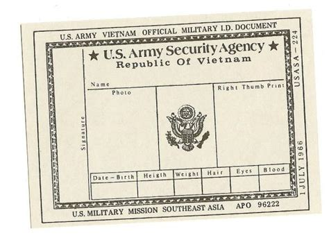 us asa army security agency id card vietnam 1966 get out