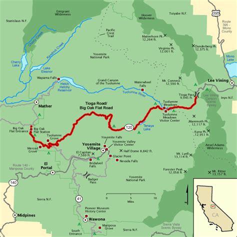 map usa yosemite tioga road big oak flat road map america s byways