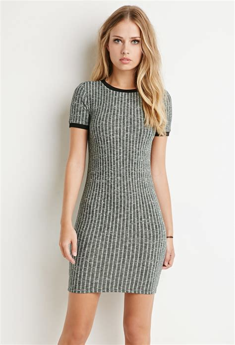 Forever21 Layered Vented Back Dress In Green forever 21 ribbed knit marled dress in green lyst