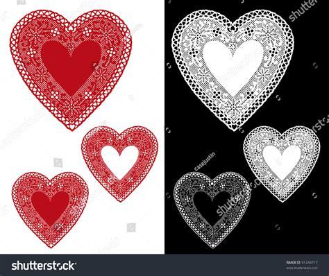 heart vintage pattern lace heart doilies vintage pattern red stock illustration