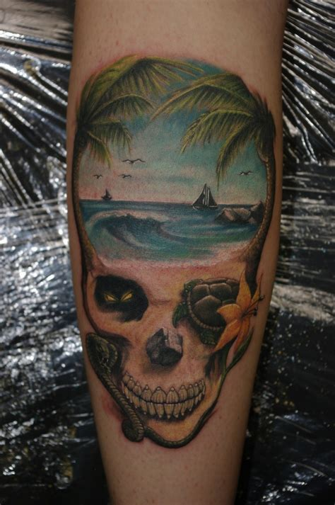 beach scene tattoo skull tattoos for