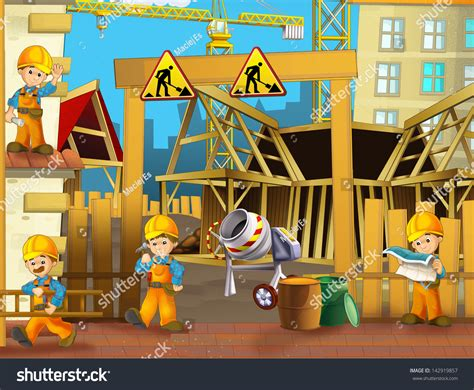 clipart site on construction site illustration children stock