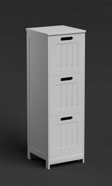 Slim White Bathroom Cabinet 3 Drawer Bathroom Storage Chest Narrow Drawers Cabinet