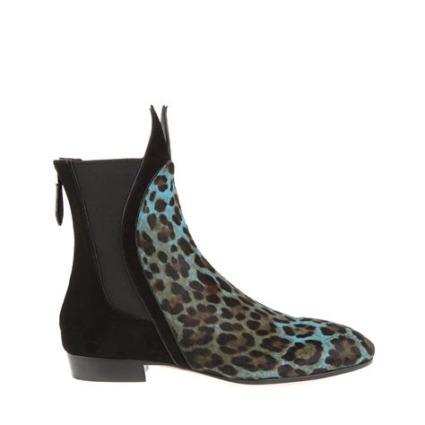 Ala 239 A Boots Leopard Print Shorthaired Calfskin In Black Lyst