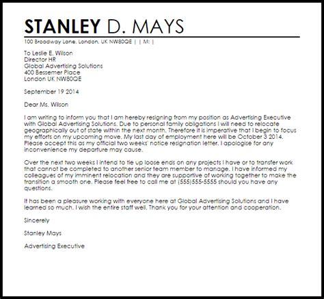 weeks notice resignation letter resignation letters