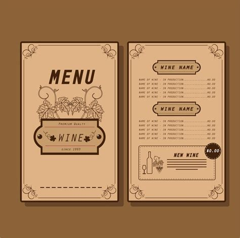 adobe illustrator menu template wine menu template traditional design on background