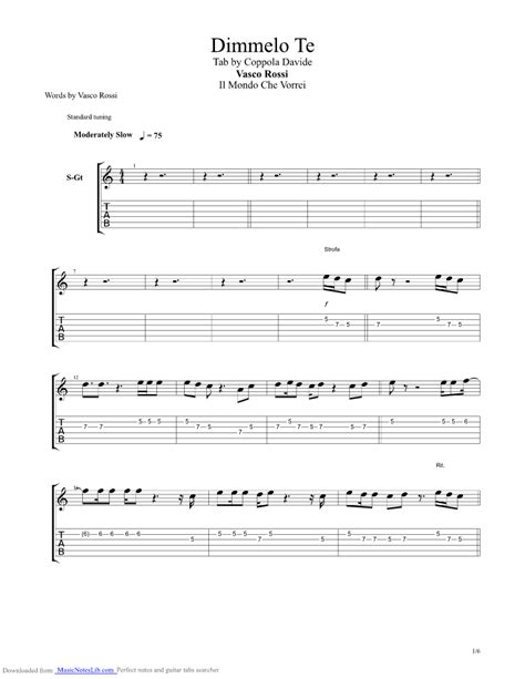 vasco vita spericolata accordi dimmelo te guitar pro tab by vasco musicnoteslib