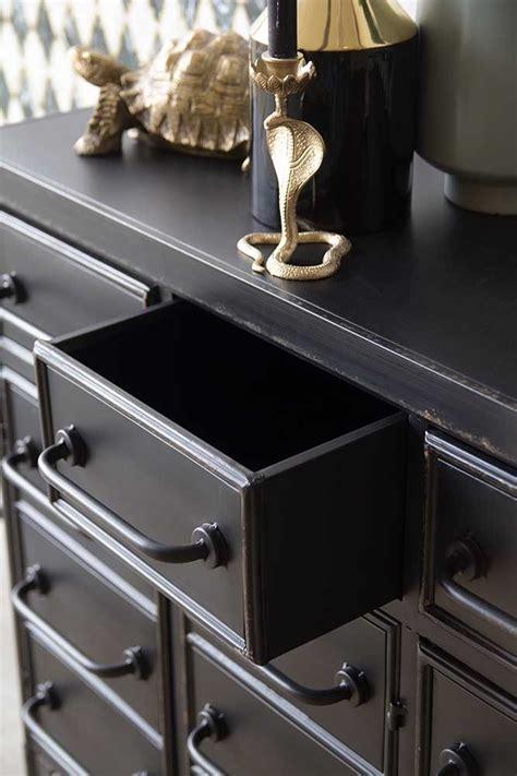 industrial style black metal drawer storage cabinet