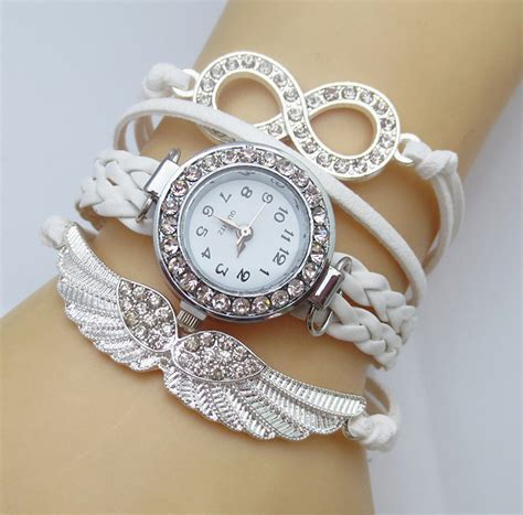 watch for girls beautiful collections 2016 new fashion 8 letter wing bracelet watch women
