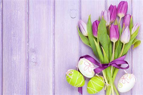 easter eggs flowers tulips spring flower hd wallpaper