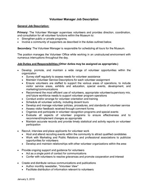 cover letter for volunteer coordinator best photos of volunteer descriptions for resume
