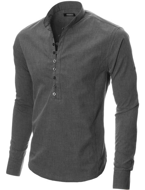 style ls amazon moderno mens mao collar sleeve casual henley shirt