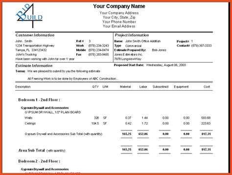 construction bid template construction bid template sop format exle