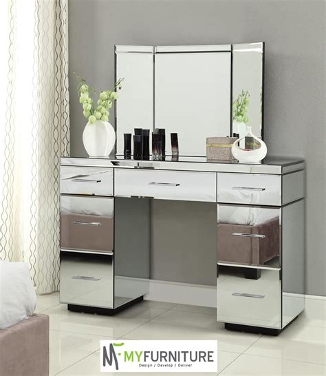 Glass Vanity Table With Mirror Furniture Vanity Tables With Mirror Mirrored Vanity Table Models With White Floor And White