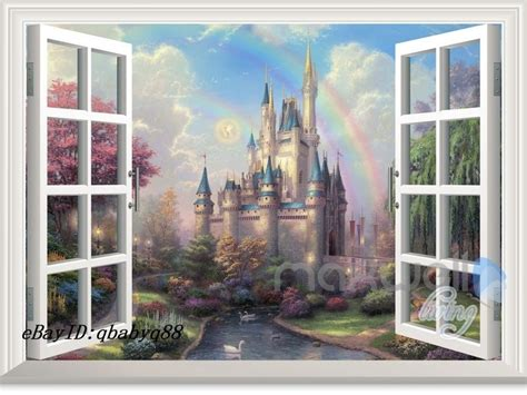 Wall Stickers For Childrens Bedrooms disney tinkerbell fairy castle 3d window wall decals girl