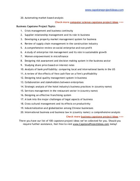 Mba Capstone Project Ideas by List Of 100 Best Capstone Project Ideas