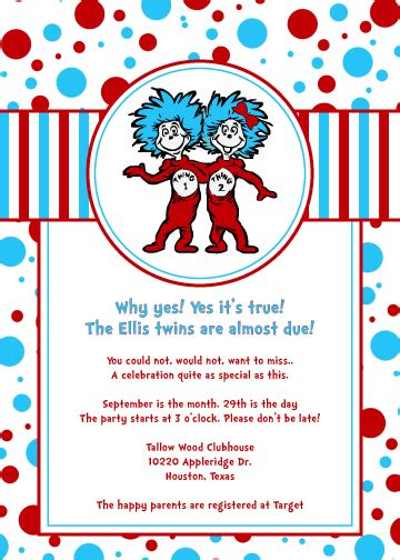 dr seuss thing one and thing two baby shower