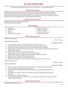 certified nursing assistant cv exle for healthcare