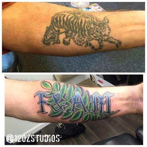 tattoo lettering cover up fantastic cover up of an old tiger with lettering and