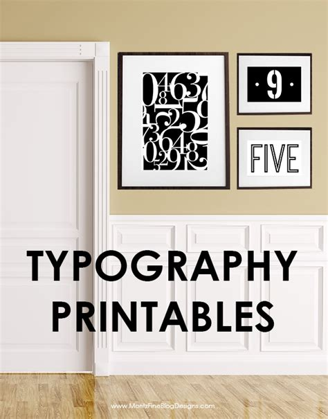 free printable wall art letters number typography printables free printables included