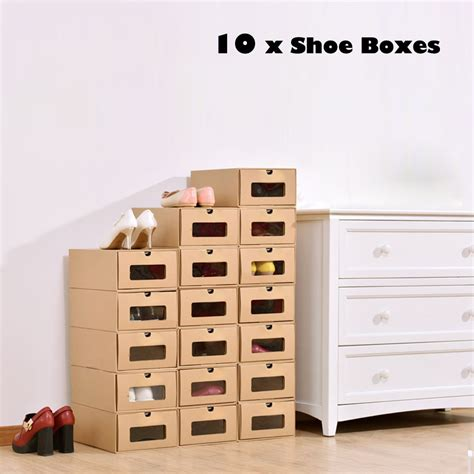 Cardboard Drawer Storage by New 10 Foldable Cardboard Shoe Boxes Organiser Drawer