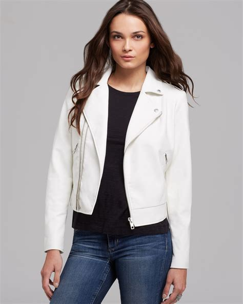 Jaket Hondie Guees lyst guess jacket faux leather moto crop in white