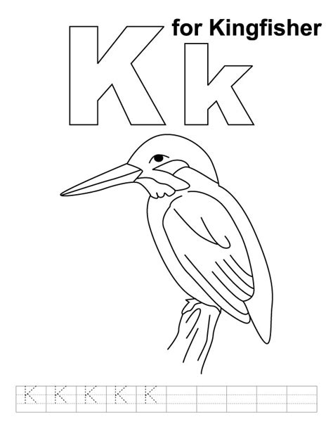 kingfisher coloring pages k for kingfisher coloring page with handwriting practice