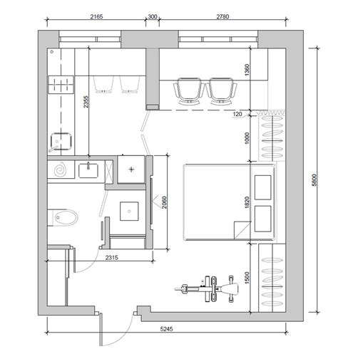 floor plan of apartment 4 super tiny apartments under 30 square meters includes