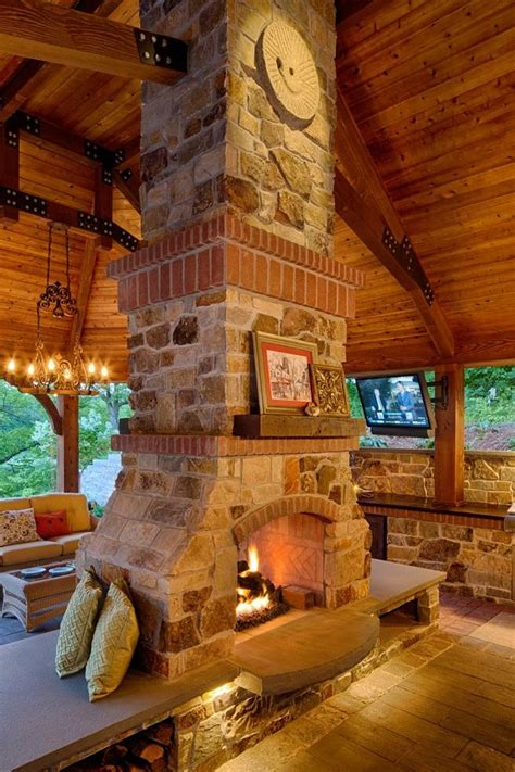 gas fireplace   large outdoor pavilion