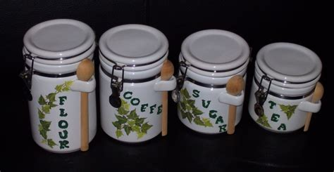 canisters kitchen decor 4 stenciled ceramic canister white green kitchen decor