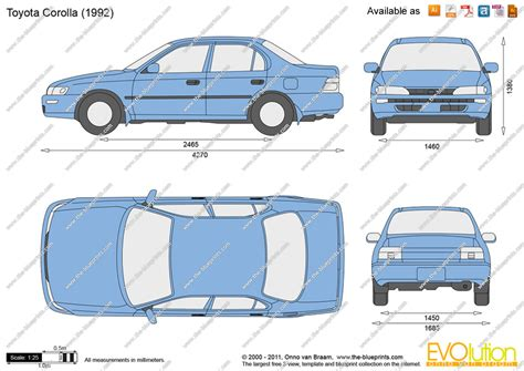Cornerl Toyota Corona At181 1991 1992 the blueprints vector drawing toyota corolla
