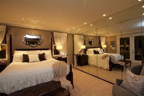 robeson design master bedroom with mirrored closet storage