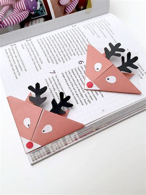 printable christmas origami bookmarks reindeer bookmarks cute easy origami for kids red