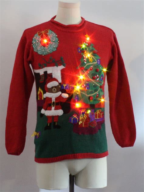 Sweater With Fireplace by Womens Lightup Sweater Santas Club