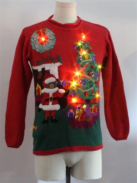 fireplace sweater womens lightup sweater santas club